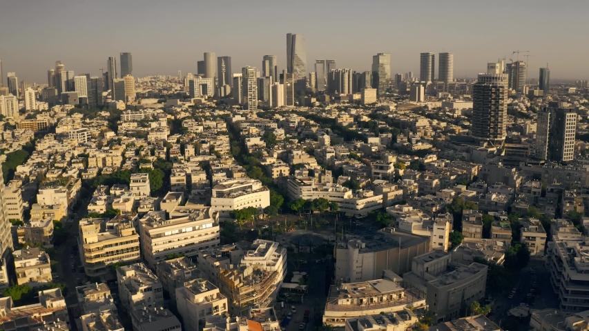 Tel Aviv center aerial view on sunset, Israel, 4k drone skyline | Shutterstock HD Video #1045079260