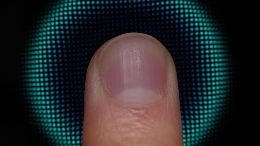 Technology Finger Print Password. Scanning Fingerprint for Security Purpose on Smartphone. Cyber Security Personal Device. Man Using Cell Phone with Application for Scanning Fingerprint.