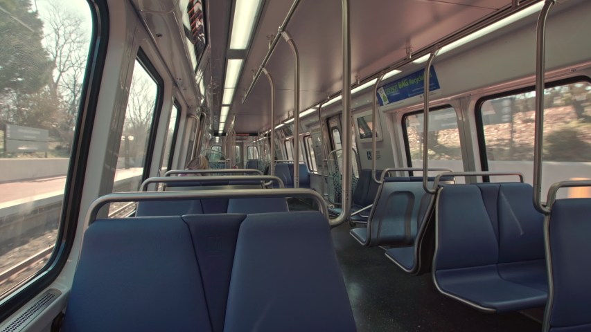 Metro station in Washington DC. New generation train interior in the US Nation's Capital. City lifestyle and public transportation. | Shutterstock HD Video #1045112341