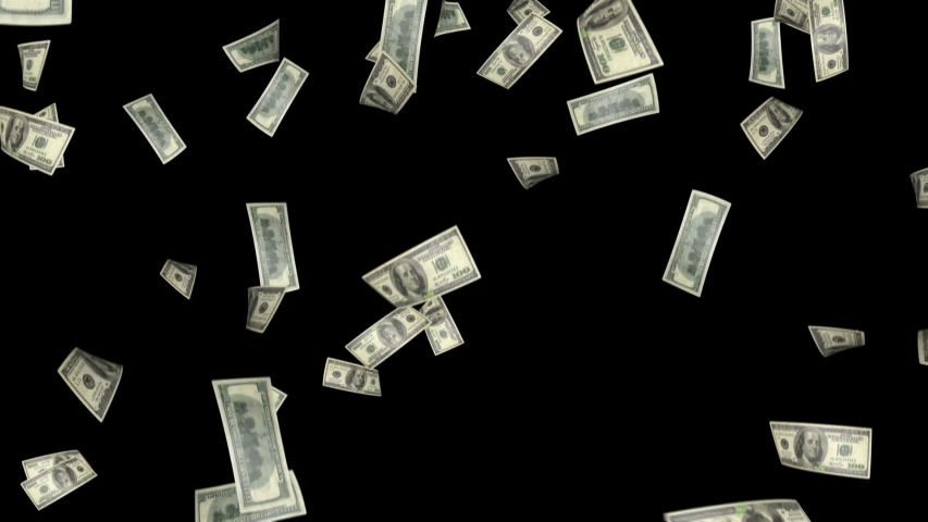 Falling Dollar banknotes. Seamless looped clip. Included matte clip for alpha channel. Dollar bills falling rain black screen. | Shutterstock HD Video #1045123768