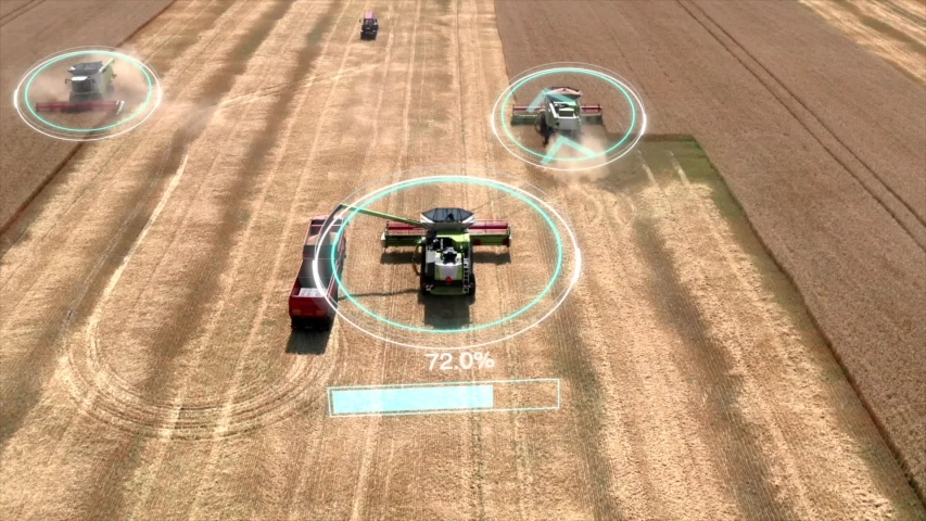 Autonomous transportation in agriculture. Self-driving harvesters ride on wheat field and harvest. Aerial view Royalty-Free Stock Footage #1045125007