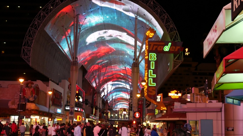 - Las Vegas, Nevada- August 2018: Handheld shot of the spectacular lights at the Old Las Vegas, Nevada.