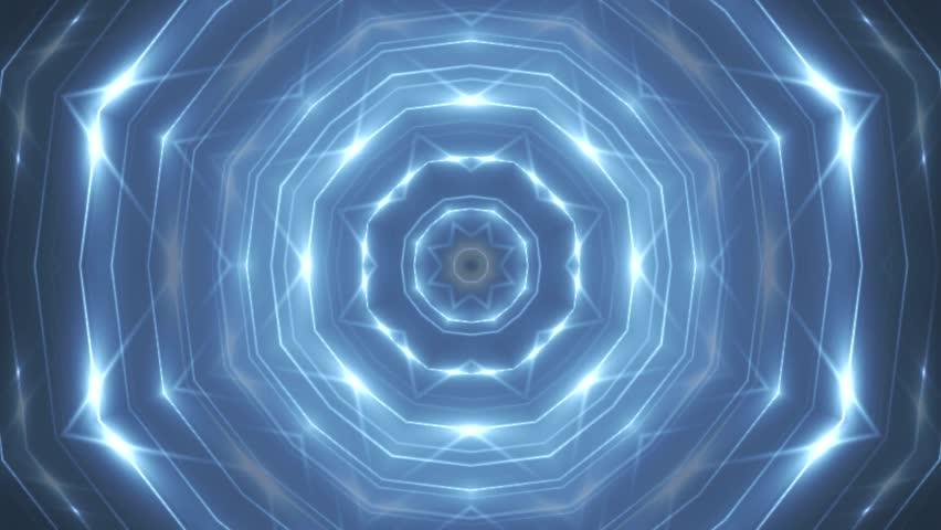 Fractal blue kaleidoscopic background. Background motion with fractal design. Disco spectrum lights concert spot bulb. More sets footage in my portfolio. #10451399