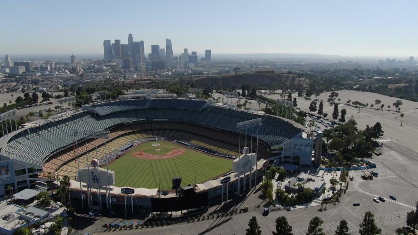Los Angeles, California, USA - Oct 15 2019: Los Angeles Downtown Aerial Shot California USA