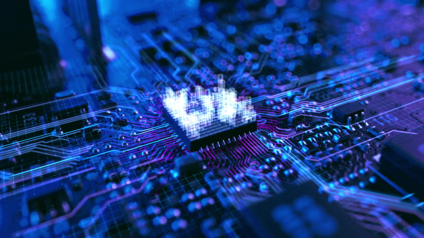 Dark Theme Visualization of Circuit Board CPU Processor Starting Digitalization Process and Information Computing, Processing Bits of Data. Computer Graphics, Special Visual Effects, Animation Royalty-Free Stock Footage #1045164238