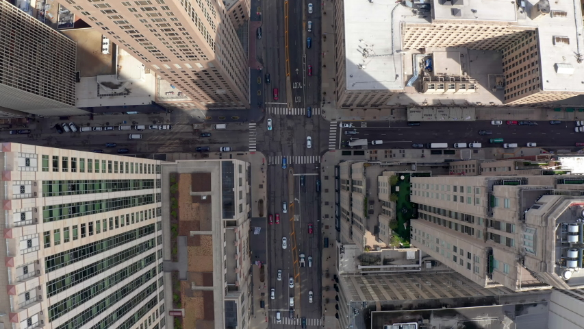 Amazing Straight Down Aerial Above Streets Buildings Downtown Chicago