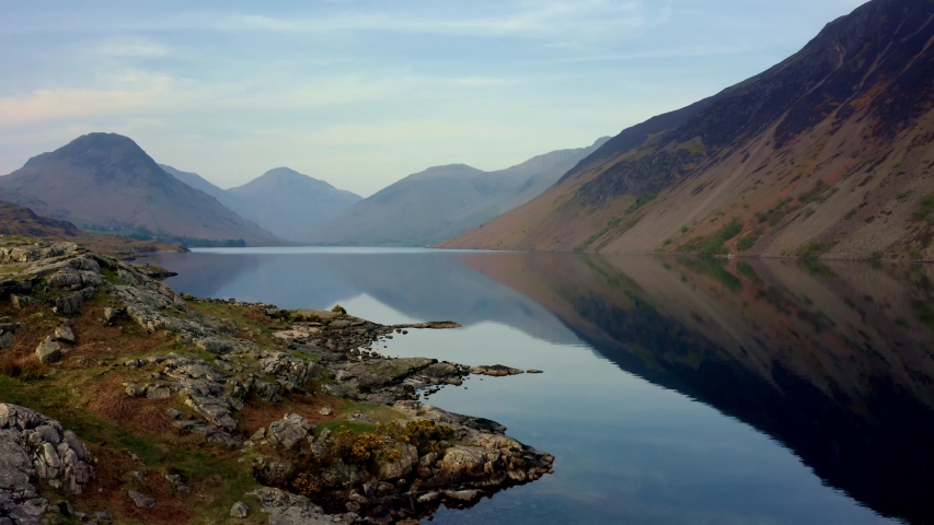 Drone footage over Wast Water in the English Lake District, UK