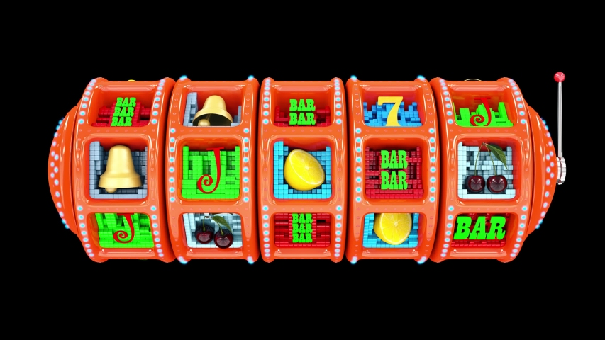 Glossy slot machine hitting a 77777 jackpot and exploding golden coins. UHD - 4K - 3D Rendering
