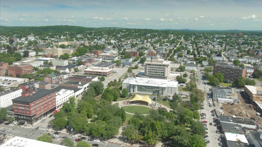 Aerial: Flying over the town of Manchester, New Hampshire, USA