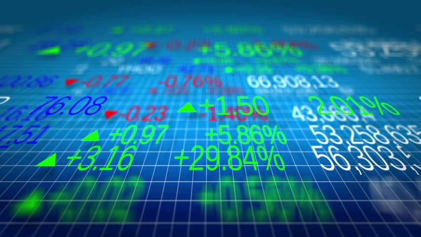 Stock market tickers and stock market graphs. Moving charts of financial data displaying the price going up and down at the stock exchange. Price indicators and forecast. Stock Trading. Money. Data.