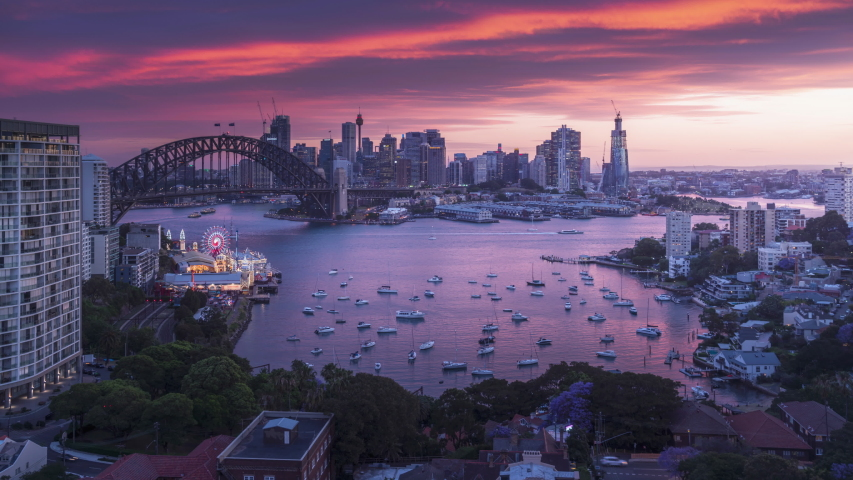 Sunset, time lapse of Sydney harbor, New South Wales, Australia