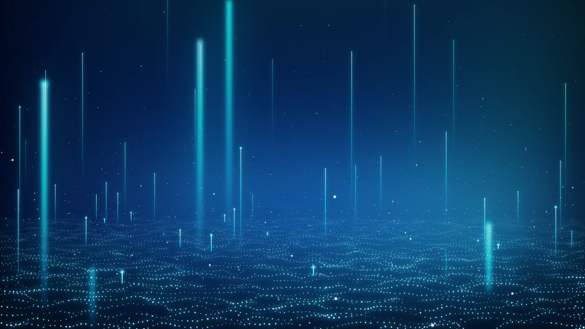Blue neon line technology background. Abstract application code moving in a cyberspace. Data flow texture. Script running on a screen. HUD concept. Bright beams. Royalty-Free Stock Footage #1045274026