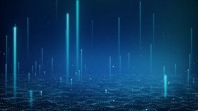 Blue neon line technology background. Abstract application code moving in a cyberspace. Data flow texture. Script running on a screen. HUD concept. Bright beams.