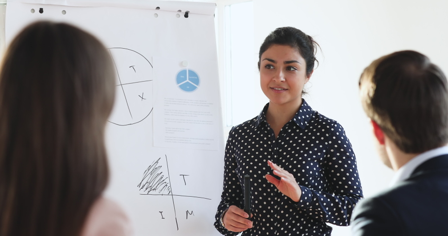 Confident young female indian manager coach speaker presenting marketing project on flip chart training business people at seminar event give whiteboard presentation during corporate workshop concept Royalty-Free Stock Footage #1045309201