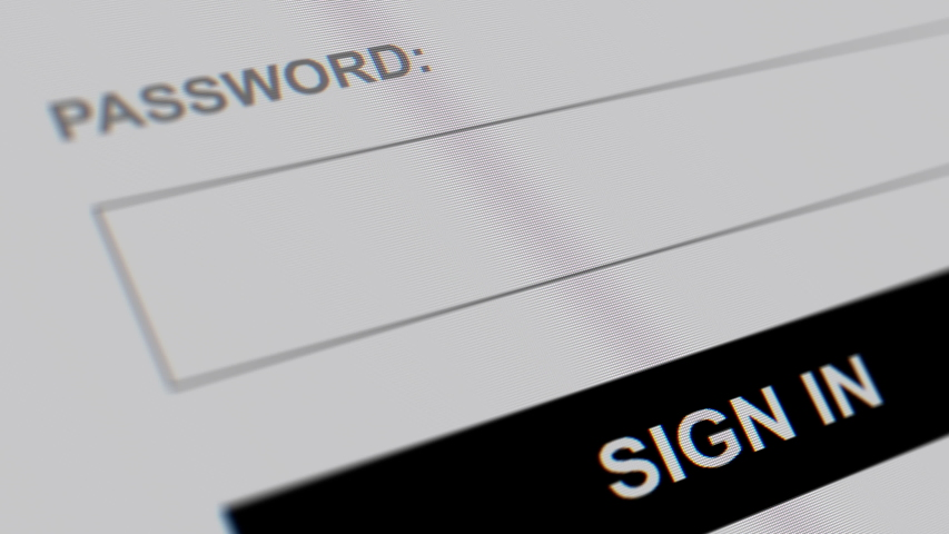 Login web page closeup. Entering password and clicking the button sign in on computer screen. Royalty-Free Stock Footage #1045324717