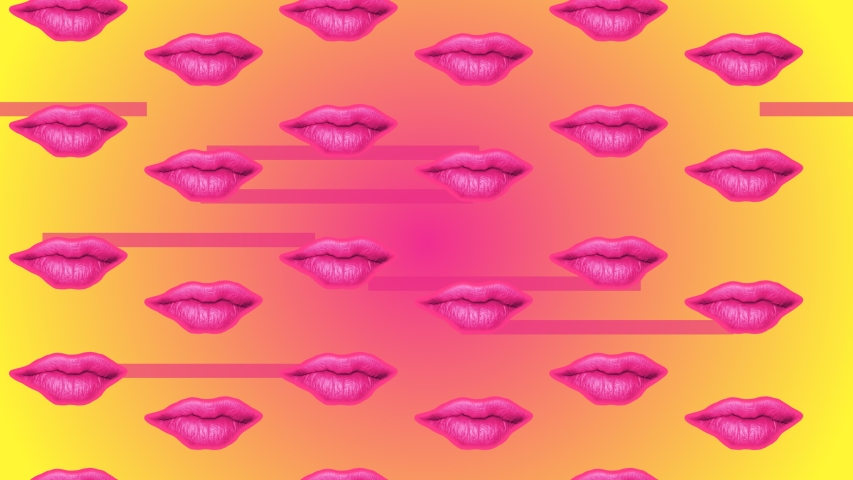 Abstract Minimal Pop Art Motion Design Animation of Lips on an yellow and pink background.