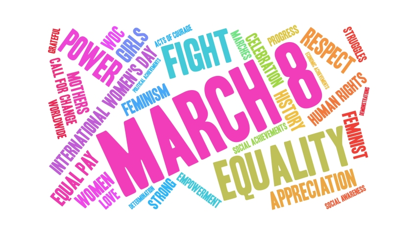 March 8 International Women's Day word cloud on a white background. Royalty-Free Stock Footage #1045385296