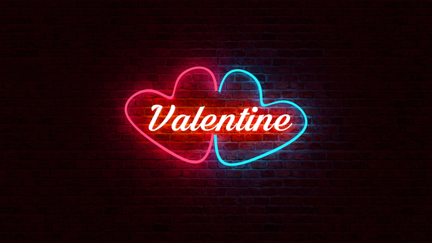 Animation loop color neon light of heart logo and Valentine text in front of brick wall in background with 3d rendering.   Shutterstock HD Video #1045389133