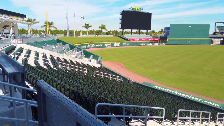 North Port FL January 26 2020 The outfield and infield at the new Atlanta Braves spring training baseball facility in North Port FL is shown on a sunny day. No people are in the video.