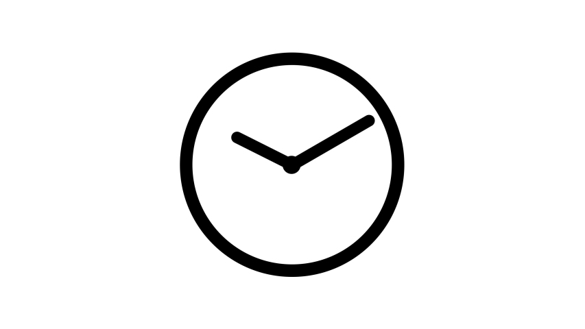 Stopwatch animated icon. Clock with moving arrows. Loop. Alpha channel.