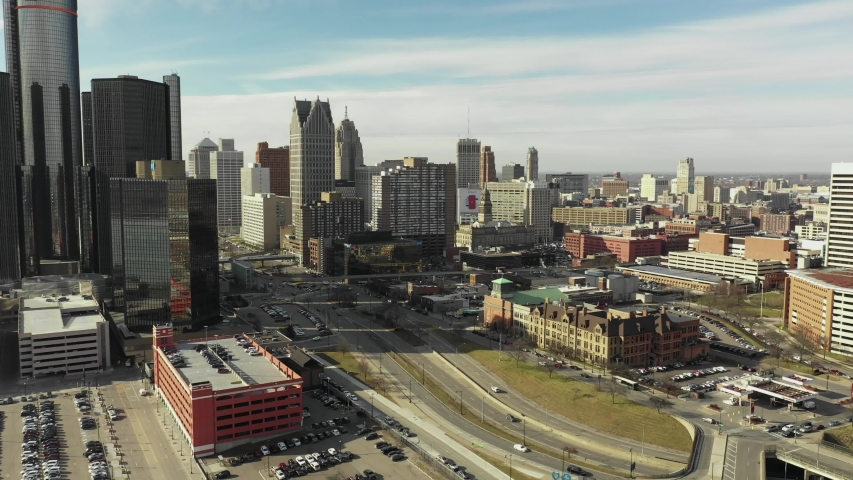 DETROIT, MI, USA - JANUARY 6, 2020: Aerial Downtown Detroit 2020 4k