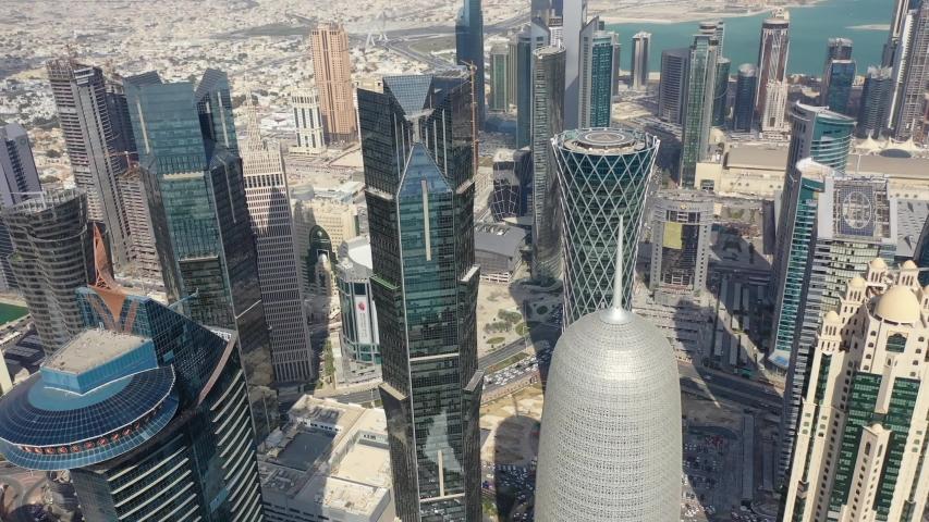 Doha, Qatar - January 20th 2020: aerial view of West Bay skyscrapers. Burj Qatar. Video footage 4k