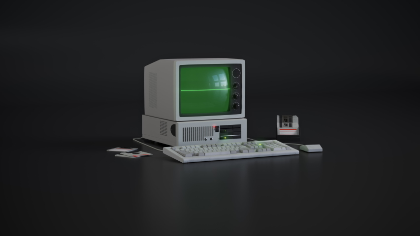 Animation of fictional old computer with fictional retro looking UI. I can provide masks for this or tracking markers if anyone wants to replace the screen content. | Shutterstock HD Video #1045455061