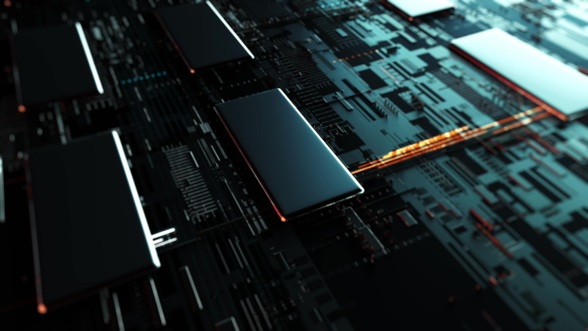 Abstract server circuit board processes requests for HTML code. Data moves in the form of moving lines. The movement and processing of data inside a server or computer. 3d rendering Royalty-Free Stock Footage #1045455703