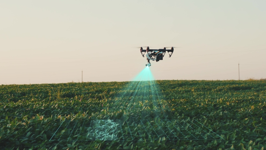 Flying Smart Agriculture Drone. Artificial Intelligence. Drone Scan Agriculture Farm. Agriculture Innovation. Farming Field Industry. Analyze the Field. Professional Vehicle Aircraft. Royalty-Free Stock Footage #1045464847