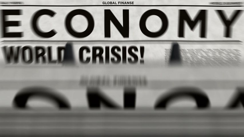 Economy and business newspapers with world crisis printing and disseminating loopable and seamless animation. Crash stock, market collapse and financial media press production abstract concept.   Shutterstock HD Video #1045473829