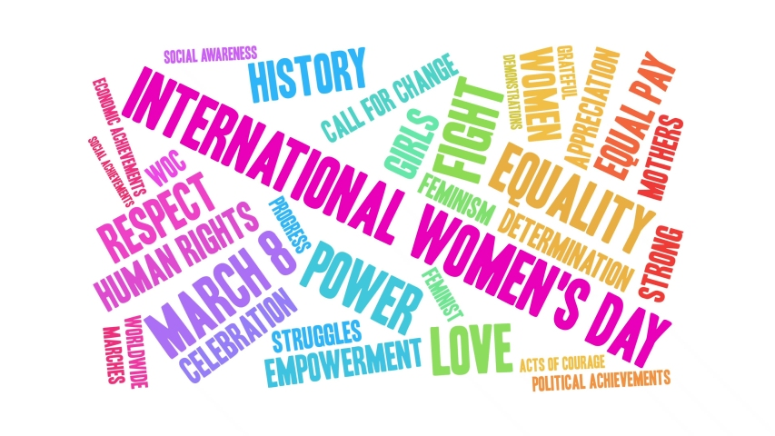 International Women's Day word cloud on a black background. Royalty-Free Stock Footage #1045510078