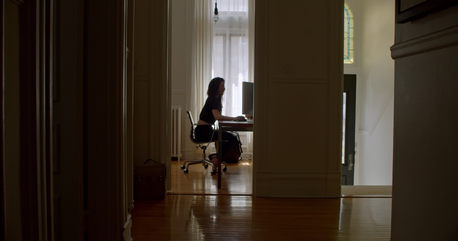 Attractive young woman enjoying what she is doing as she works at computer in her beautiful home office