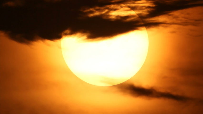Rising big white disk sun in hot atmosphere of summer season | Shutterstock HD Video #1045527787