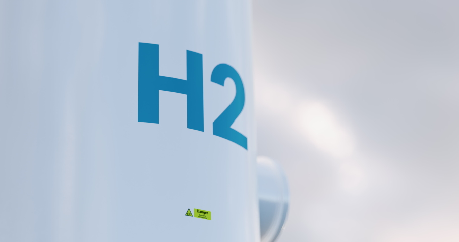 Hydrogen storage tank concept in beautiful morning light. 3d rendering clip. Royalty-Free Stock Footage #1045532032
