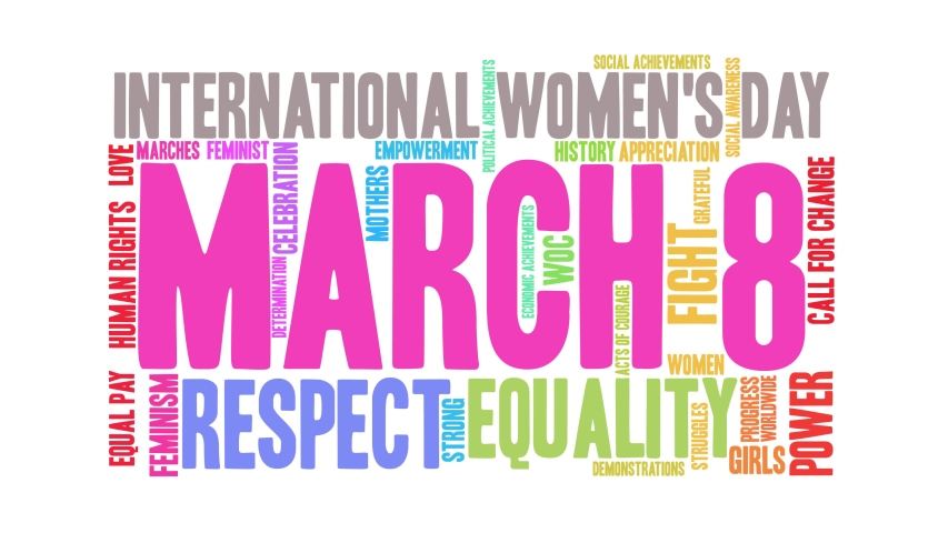 March 8 International Women's Day word cloud on a white background. Royalty-Free Stock Footage #1045536397