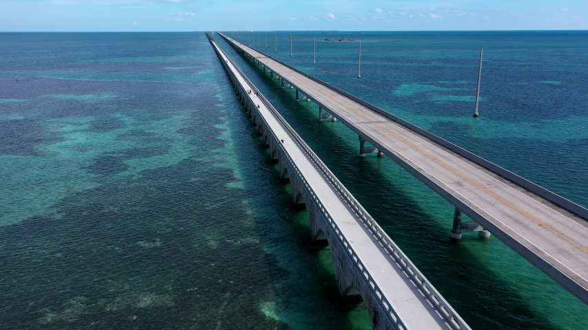Aerial shot of the Seven Mile Bridge in Florida which connects several of the Florida Keys on the way to Key West