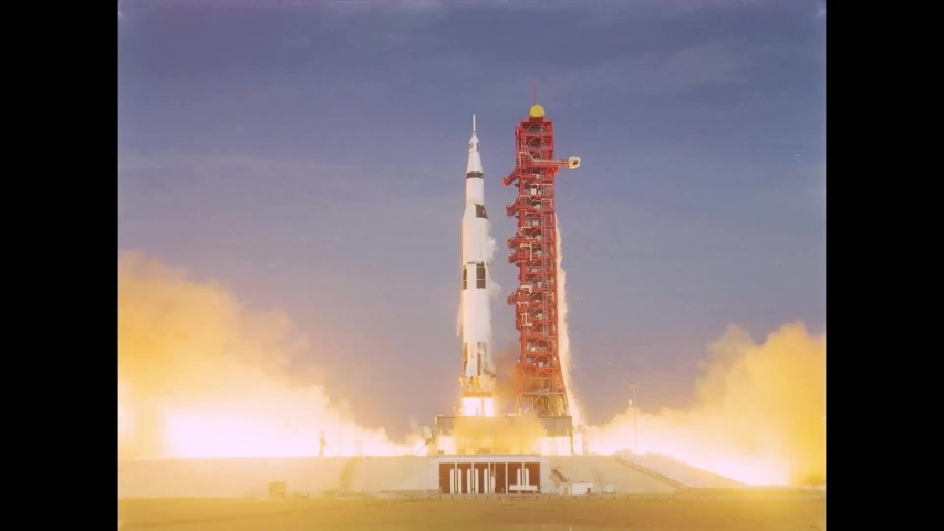 CIRCA 1969 - Slow motion of Apollo 11 and the Saturn V rocket being launched at the Kennedy Space Centre on July 16th.