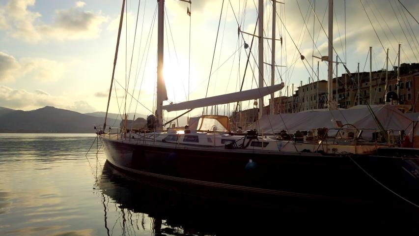 Sunset on Portoferraio harbor, Island of Elba, Italy.