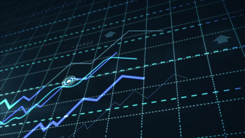 Growth up stock markets blue chart 3d loop animation. Success, rising business and financial graph, economy data diagram and money investment analysis loopable and abstract concept.