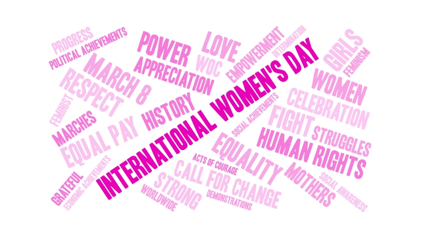 International Women's Day word cloud on a black background. Royalty-Free Stock Footage #1045613731