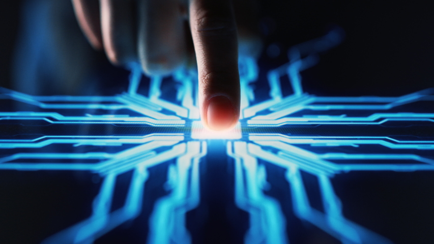 Digitalization Concept: Human Finger Turns on Touch Screen Button and Activates Futuristic Artificial Intelligence. Visualization of Machine Learning, AI, Computer Technology Merge with Humanity #1045628542