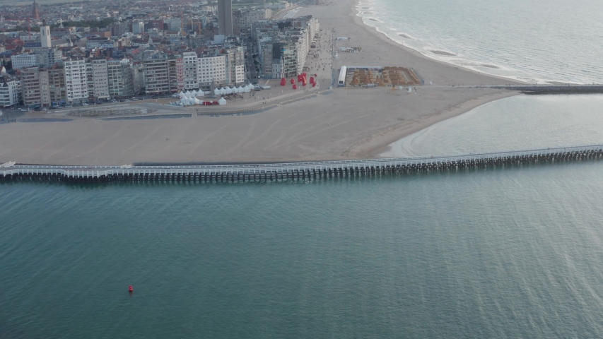 Ostend, Belgium, Drone view on the water and the city at the sea Royalty-Free Stock Footage #1045685608
