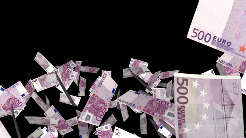 Money Explosion of 500 Euro banknote bills. Realistic Ultra HD 4K 3D animation with alpha channel isolated on transparent background.