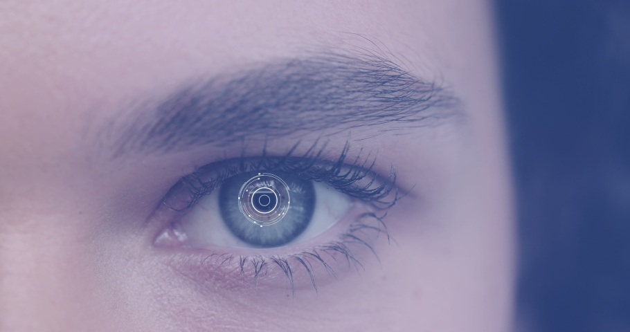 Close up of female eye with facial recognition scanner reading eye pupil   Shutterstock HD Video #1045699738
