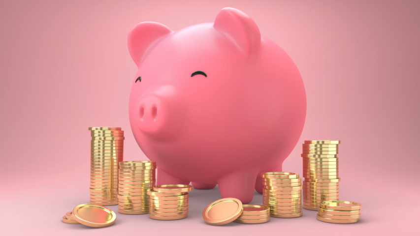 Golden coins falling into a piggy bank. Pink piggy bank Get bigger when receiving coins and Gold coins appears a lot.Money saving concept. 3d animation. Royalty-Free Stock Footage #1045700146