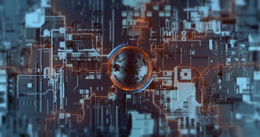 Digital crypto nanotechnology, neural network, futuristic processor. Development innovation high-tech CPU. High speed data processing 3D video.   Shutterstock HD Video #1045718404