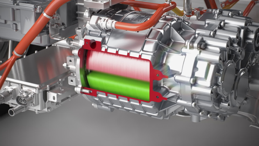 electric motor cut open x-ray view of the function of a electric car engine 3d render Royalty-Free Stock Footage #1045729624