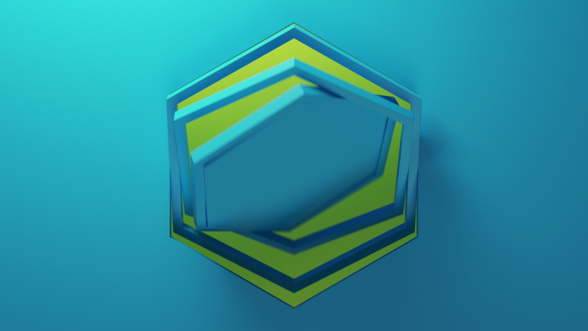 Blue background with hexagons rotating in the center of frame. Camera slowly moving back. Beautiful loopable render in 4k.