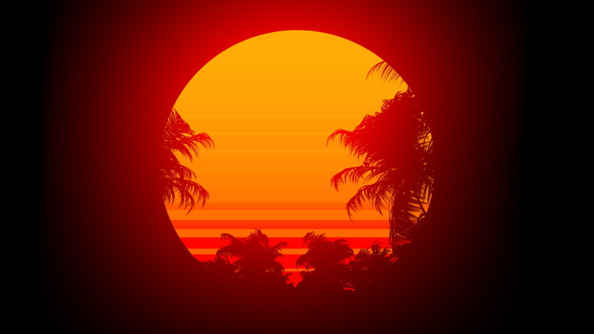 Retro 80s style sunset and palm trees background. Perfectly seamless looped background animation. | Shutterstock HD Video #1045741219