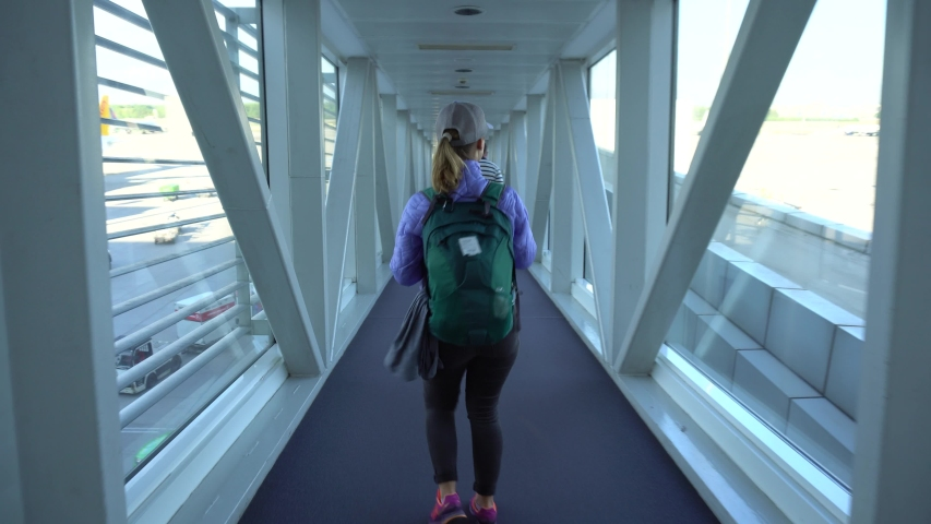 Airport. Young Women Running On Your Flight | Shutterstock HD Video #1045752643